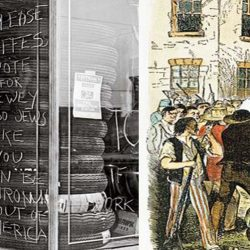 "Above Left : During the 1944 campaign for president, anti-Semites scrawled hate messages on a shop window in the Bronx, New York. (FPG / Hulton Archive / Getty Images) Above Right: In 1844, an anti-Mormon mob murdered Joseph Smith and his brother Hyrum while they were held in an Illinois jail cell. (Granger Collection, New York) By Kenneth C. Davis | The idea that the United States has always been a bastion of religious freedom is reassuring—and utterly at odds with the historical record  Wading into the controversy surrounding an Islamic center planned for a site near New York City's Ground Zero memorial this past August, President Obama declared: ""This is America. And our commitment to religious freedom must be unshakeable. The principle that people of all faiths are welcome in this country and that they will not be treated differently by their government is essential to who we are."" In doing so, he paid homage to a vision that politicians and preachers have extolled for more than two centuries—that America historically has been a place of religious tolerance. It was a sentiment George Washington voiced shortly after taking the oath of office just a few blocks from Ground Zero.  In the storybook version most of us learned in school, the Pilgrims came to America aboard the Mayflower in search of religious freedom in 1620. The Puritans soon followed, for the same reason. Ever since these religious dissidents arrived at their shining ""city upon a hill,"" as their governor John Winthrop called it, millions from around the world have done the same, coming to an America where they found a welcome melting pot in which everyone was free to practice his or her own faith.  The problem is that this tidy narrative is an American myth. The real story of religion in America's past is an often awkward, frequently embarrassing and occasionally bloody tale that most civics books and high-school texts either paper over or shunt to the side. And much of the recent conversation about America's ideal of religious freedom has paid lip service to this comforting tableau. From the earliest arrival of Europeans on America's shores, religion has often been a cudgel, used to discriminate, suppress and even kill the foreign, the ""heretic"" and the ""unbeliever""—including the ""heathen"" natives already here. Moreover, while it is true that the vast majority of early-generation Americans were Christian, the pitched battles between various Protestant sects and, more explosively, between Protestants and Catholics, present an unavoidable contradiction to the widely held notion that America is a ""Christian nation.""  First, a little overlooked history: the initial encounter between Europeans in the future United States came with the establishment of a Huguenot (French Protestant) colony in 1564 at Fort Caroline (near modern Jacksonville, Florida). More than half a century before the Mayflower set sail, French pilgrims had come to America in search of religious freedom.  The Spanish had other ideas. In 1565, they established a forward operating base at St. Augustine and proceeded to wipe out the Fort Caroline colony. The Spanish commander, Pedro Menéndez de Avilés, wrote to the Spanish King Philip II that he had ""hanged all those we had found in [Fort Caroline] because...they were scattering the odious Lutheran doctrine in these Provinces."" When hundreds of survivors of a shipwrecked French fleet washed up on the beaches of Florida, they were put to the sword, beside a river the Spanish called Matanzas (""slaughters""). In other words, the first encounter between European Christians in America ended in a blood bath.  The much-ballyhooed arrival of the Pilgrims and Puritans in New England in the early 1600s was indeed a response to persecution that these religious dissenters had experienced in England. But the Puritan fathers of the Massachusetts Bay Colony did not countenance tolerance of opposing religious views. Their ""city upon a hill"" was a theocracy that brooked no dissent, religious or political.  The most famous dissidents within the Puritan community, Roger Williams and Anne Hutchinson, were banished following disagreements over theology and policy. From Puritan Boston's earliest days, Catholics (""Papists"") were anathema and were banned from the colonies, along with other non-Puritans. Four Quakers were hanged in Boston between 1659 and 1661 for persistently returning to the city to stand up for their beliefs.  Throughout the colonial era, Anglo-American antipathy toward Catholics—especially French and Spanish Catholics—was pronounced and often reflected in the sermons of such famous clerics as Cotton Mather and in statutes that discriminated against Catholics in matters of property and voting. Anti-Catholic feelings even contributed to the revolutionary mood in America after King George III extended an olive branch to French Catholics in Canada with the Quebec Act of 1774, which recognized their religion.  When George Washington dispatched Benedict Arnold on a mission to court French Canadians' support for the American Revolution in 1775, he cautioned Arnold not to let their religion get in the way. ""Prudence, policy and a true Christian Spirit,"" Washington advised, ""will lead us to look with compassion upon their errors, without insulting them."" (After Arnold betrayed the American cause, he publicly cited America's alliance with Catholic France as one of his reasons for doing so.)  In newly independent America, there was a crazy quilt of state laws regarding religion. In Massachusetts, only Christians were allowed to hold public office, and Catholics were allowed to do so only after renouncing papal authority. In 1777, New York State's constitution banned Catholics from public office (and would do so until 1806). In Maryland, Catholics had full civil rights, but Jews did not. Delaware required an oath affirming belief in the Trinity. Several states, including Massachusetts and South Carolina, had official, state-supported churches.  In 1779, as Virginia's governor, Thomas Jefferson had drafted a bill that guaranteed legal equality for citizens of all religions—including those of no religion—in the state. It was around then that Jefferson famously wrote, ""But it does me no injury for my neighbor to say there are twenty gods or no God. It neither picks my pocket nor breaks my leg."" But Jefferson's plan did not advance—until after Patrick (""Give Me Liberty or Give Me Death"") Henry introduced a bill in 1784 calling for state support for ""teachers of the Christian religion.""  Future President James Madison stepped into the breach. In a carefully argued essay titled ""Memorial and Remonstrance Against Religious Assessments,"" the soon-to-be father of the Constitution eloquently laid out reasons why the state had no business supporting Christian instruction. Signed by some 2,000 Virginians, Madison's argument became a fundamental piece of American political philosophy, a ringing endorsement of the secular state that ""should be as familiar to students of American history as the Declaration of Independence and the Constitution,"" as Susan Jacoby has written in Freethinkers, her excellent history of American secularism.  Among Madison's 15 points was his declaration that ""the Religion then of every man must be left to the conviction and conscience of every...man to exercise it as these may dictate. This right is in its nature an inalienable right.""  Madison also made a point that any believer of any religion should understand: that the government sanction of a religion was, in essence, a threat to religion. ""Who does not see,"" he wrote, ""that the same authority which can establish Christianity, in exclusion of all other Religions, may establish with the same ease any particular sect of Christians, in exclusion of all other Sects?"" Madison was writing from his memory of Baptist ministers being arrested in his native Virginia.  As a Christian, Madison also noted that Christianity had spread in the face of persecution from worldly powers, not with their help. Christianity, he contended, ""disavows a dependence on the powers of this world...for it is known that this Religion both existed and flourished, not only without the support of human laws, but in spite of every opposition from them.""  Recognizing the idea of America as a refuge for the protester or rebel, Madison also argued that Henry's proposal was ""a departure from that generous policy, which offering an Asylum to the persecuted and oppressed of every Nation and Religion, promised a lustre to our country.""  After long debate, Patrick Henry's bill was defeated, with the opposition outnumbering supporters 12 to 1. Instead, the Virginia legislature took up Jefferson's plan for the separation of church and state. In 1786, the Virginia Act for Establishing Religious Freedom, modified somewhat from Jefferson's original draft, became law. The act is one of three accomplishments Jefferson included on his tombstone, along with writing the Declaration and founding the University of Virginia. (He omitted his presidency of the United States.) After the bill was passed, Jefferson proudly wrote that the law ""meant to comprehend, within the mantle of its protection, the Jew, the Gentile, the Christian and the Mahometan, the Hindoo and Infidel of every denomination.""  Madison wanted Jefferson's view to become the law of the land when he went to the Constitutional Convention in Philadelphia in 1787. And as framed in Philadelphia that year, the U.S. Constitution clearly stated in Article VI that federal elective and appointed officials ""shall be bound by Oath or Affirmation, to support this Constitution, but no religious Test shall ever be required as a Qualification to any Office or public Trust under the United States.""  This passage—along with the facts that the Constitution does not mention God or a deity (except for a pro forma ""year of our Lord"" date) and that its very first amendment forbids Congress from making laws that would infringe of the free exercise of religion—attests to the founders' resolve that America be a secular republic. The men who fought the Revolution may have thanked Providence and attended church regularly—or not. But they also fought a war against a country in which the head of state was the head of the church. Knowing well the history of religious warfare that led to America's settlement, they clearly understood both the dangers of that system and of sectarian conflict.  It was the recognition of that divisive past by the founders—notably Washington, Jefferson, Adams and Madison—that secured America as a secular republic. As president, Washington wrote in 1790: ""All possess alike liberty of conscience and immunity of citizenship. ...For happily the Government of the United States, which gives to bigotry no sanction, to persecution no assistance requires only that they who live under its protection should demean themselves as good citizens.""  He was addressing the members of America's oldest synagogue, the Touro Synagogue in Newport, Rhode Island (where his letter is read aloud every August). In closing, he wrote specifically to the Jews a phrase that applies to Muslims as well: ""May the children of the Stock of Abraham, who dwell in this land, continue to merit and enjoy the good will of the other inhabitants, while every one shall sit in safety under his own vine and figtree, and there shall be none to make him afraid.""  As for Adams and Jefferson, they would disagree vehemently over policy, but on the question of religious freedom they were united. ""In their seventies,"" Jacoby writes, ""with a friendship that had survived serious political conflicts, Adams and Jefferson could look back with satisfaction on what they both considered their greatest achievement—their role in establishing a secular government whose legislators would never be required, or permitted, to rule on the legality of theological views.""  Late in his life, James Madison wrote a letter summarizing his views: ""And I have no doubt that every new example, will succeed, as every past one has done, in shewing that religion & Govt. will both exist in greater purity, the less they are mixed together.""  While some of America's early leaders were models of virtuous tolerance, American attitudes were slow to change. The anti-Catholicism of America's Calvinist past found new voice in the 19th century. The belief widely held and preached by some of the most prominent ministers in America was that Catholics would, if permitted, turn America over to the pope. Anti-Catholic venom was part of the typical American school day, along with Bible readings. In Massachusetts, a convent—coincidentally near the site of the Bunker Hill Monument—was burned to the ground in 1834 by an anti-Catholic mob incited by reports that young women were being abused in the convent school. In Philadelphia, the City of Brotherly Love, anti-Catholic sentiment, combined with the country's anti-immigrant mood, fueled the Bible Riots of 1844, in which houses were torched, two Catholic churches were destroyed and at least 20 people were killed.  At about the same time, Joseph Smith founded a new American religion—and soon met with the wrath of the mainstream Protestant majority. In 1832, a mob tarred and feathered him, marking the beginning of a long battle between Christian America and Smith's Mormonism. In October 1838, after a series of conflicts over land and religious tension, Missouri Governor Lilburn Boggs ordered that all Mormons be expelled from his state. Three days later, rogue militiamen massacred 17 church members, including children, at the Mormon settlement of Haun's Mill. In 1844, a mob murdered Joseph Smith and his brother Hyrum while they were jailed in Carthage, Illinois. No one was ever convicted of the crime.  Even as late as 1960, Catholic presidential candidate John F. Kennedy felt compelled to make a major speech declaring that his loyalty was to America, not the pope. (And as recently as the 2008 Republican primary campaign, Mormon candidate Mitt Romney felt compelled to address the suspicions still directed toward the Church of Jesus Christ of Latter-day Saints.) Of course, America's anti-Semitism was practiced institutionally as well as socially for decades. With the great threat of ""godless"" Communism looming in the 1950s, the country's fear of atheism also reached new heights.  America can still be, as Madison perceived the nation in 1785, ""an Asylum to the persecuted and oppressed of every Nation and Religion."" But recognizing that deep religious discord has been part of America's social DNA is a healthy and necessary step. When we acknowledge that dark past, perhaps the nation will return to that ""promised...lustre"" of which Madison so grandiloquently wrote.  Kenneth C. Davis is the author of Don't Know Much About History and A Nation Rising, among other books."