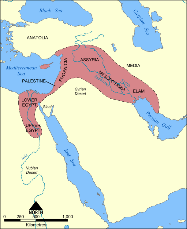 This map shows the location and extent of the Fertile Crescent, a region in the Middle East incorporating ancient Egypt; the Levant; and Mesopotamia.