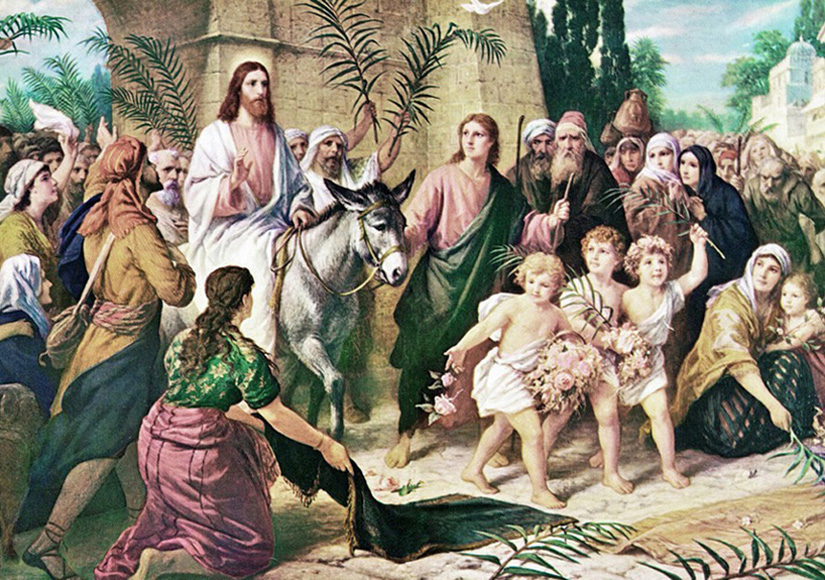 Triumphal Entry into Jerusalem. Palm Sunday celebration. Rejoice greatly, O Daughter of Zion! Shout, Daughter of Jerusalem! See, your king comes to you, righteous and having salvation, gentle and riding on a donkey, on a colt, the foal of a donkey. Zechariah 9:9 Matthew 21:6 And the disciples went, and did as Jesus commanded them, 7 And brought the ass, and the colt, and put on them their clothes, and they set him thereon. 8 And a very great multitude spread their garments in the way; others cut down branches from the trees, and strawed them in the way. 9 And the multitudes that went before, and that followed, cried, saying, Hosanna to the Son of David: Blessed is he that cometh in the name of the Lord; Hosanna in the highest. 10 And when he was come into Jerusalem, all the city was moved, saying, Who is this? 11 And the multitude said, This is Jesus the prophet of Nazareth of Galilee. Artist Bernard Plockhorst