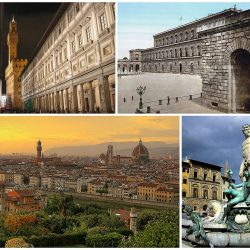 A collage of Florence showing the Galleria degli Uffizi (top left), followed by the Palazzo Pitti, a sunset view of the city and the Fountain of Neptune in the Piazza della Signoria (Image: WikiCommons).