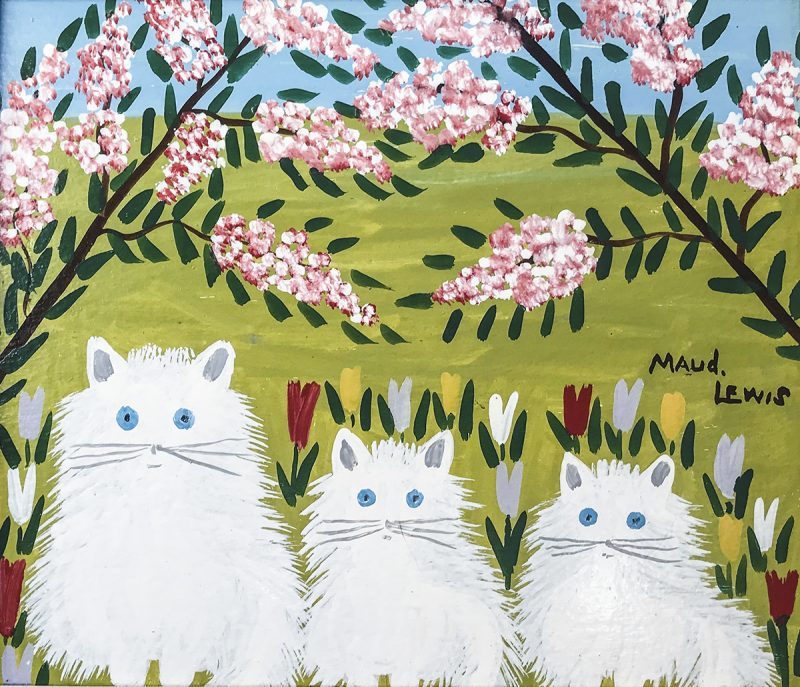 Maud Lewis (1903 – 1970) Untitled (White Cats with Blue Eyes), c.1965 oil on board 35 x 40.5 cm Private Collection © Art Gallery of Nova Scotia.