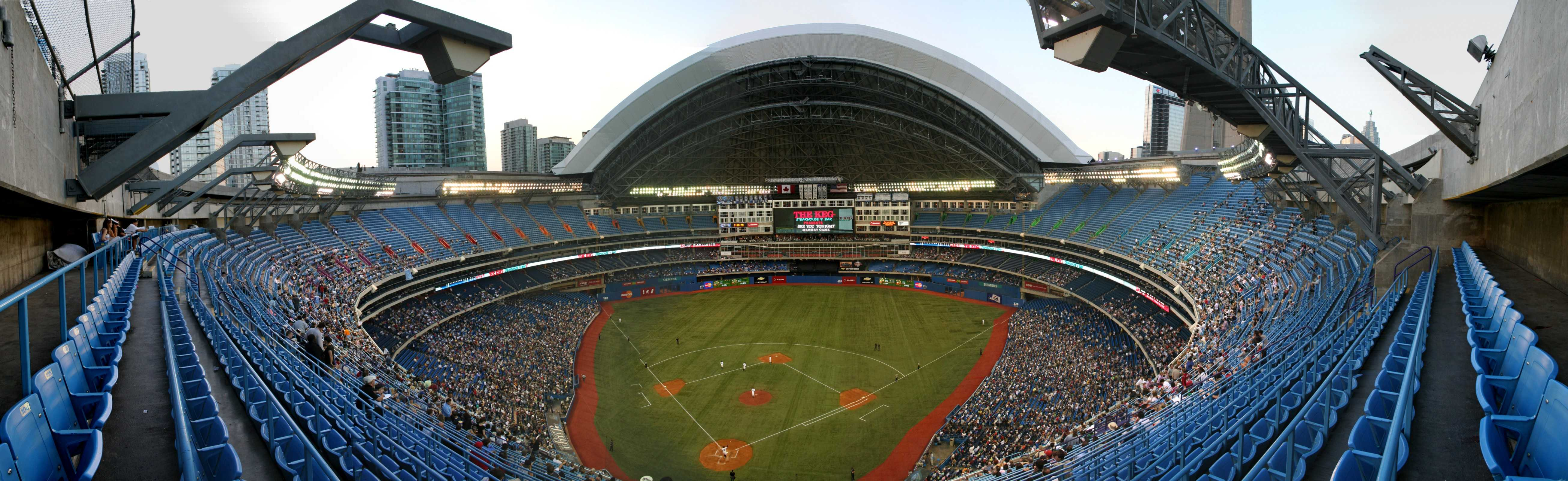 Rogers Centre- Panoramic view of Blue Jays game with open roof.