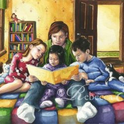Bedtime Story of Mother Reading to Children.