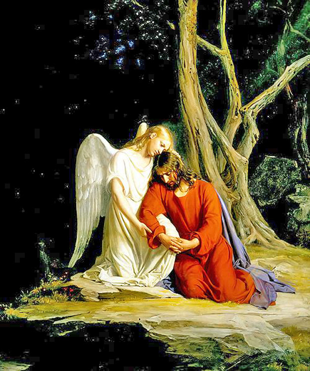 An Angel Comforts Jesus During the Agony in The Garden of Gethsemane