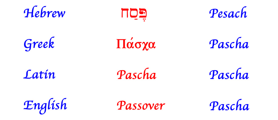 Passover and Pascha in the Biblical languages.