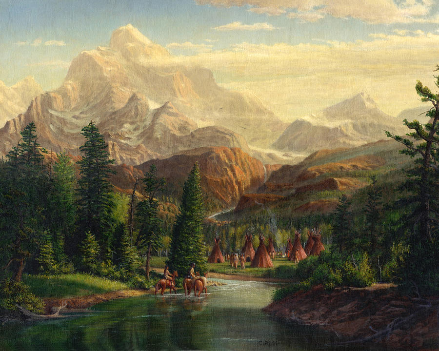 Indian Village Trapper Western Mountain Landscape Oil Painting. (Painting by Walt Curlee)