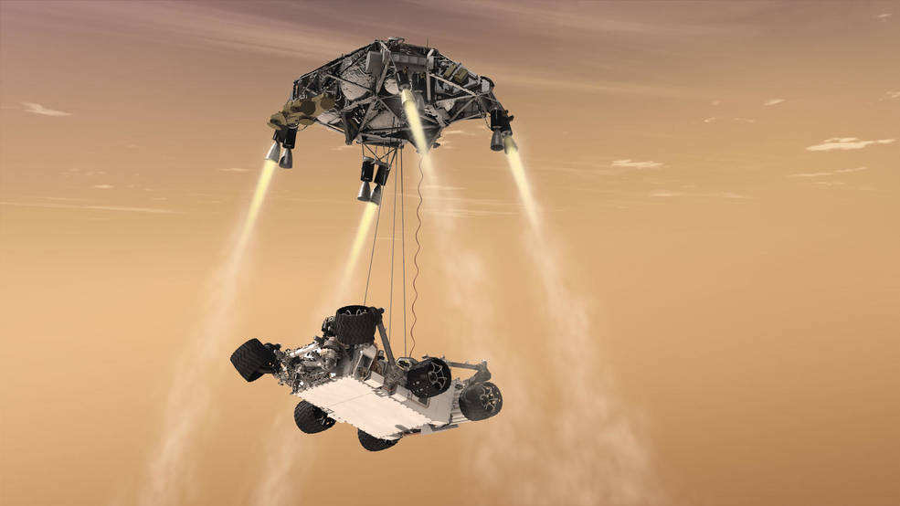 This artist's concThis artist's concept shows the sky-crane maneuver during the descent of NASA's Curiosity rover to the Martian surface. The Mars mission launching in 2020 would leverage the design of this landing system and other aspects of the Mars Science Laboratory architecture. (image NASA/JPL)ept shows the sky-crane maneuver during the descent of NASA's Curiosity rover to the Martian surface. The Mars mission launching in 2020 would leverage the design of this landing system and other aspects of the Mars Science Laboratory architecture.(image NASA/JPL)