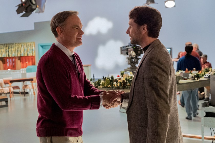 "Mister Rogers (Tom Hanks) meets journalist Lloyd Vogel (Matthew Rhys) in ""A Beautiful Day in the Neighborhood."" (Lacey Terrell / Sony Pictures Entertainment)"