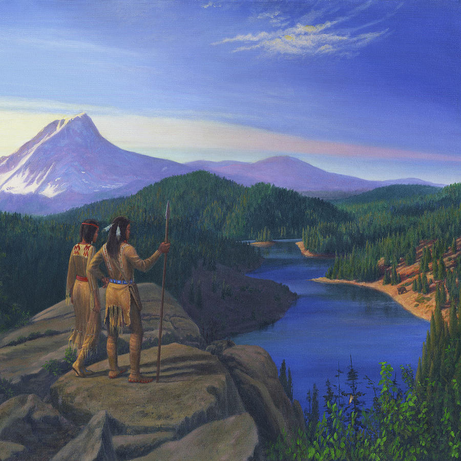Native American Indian Maiden And Warrior Watching Bear Western Mountain Landscape (Painting by Walt Curlee)