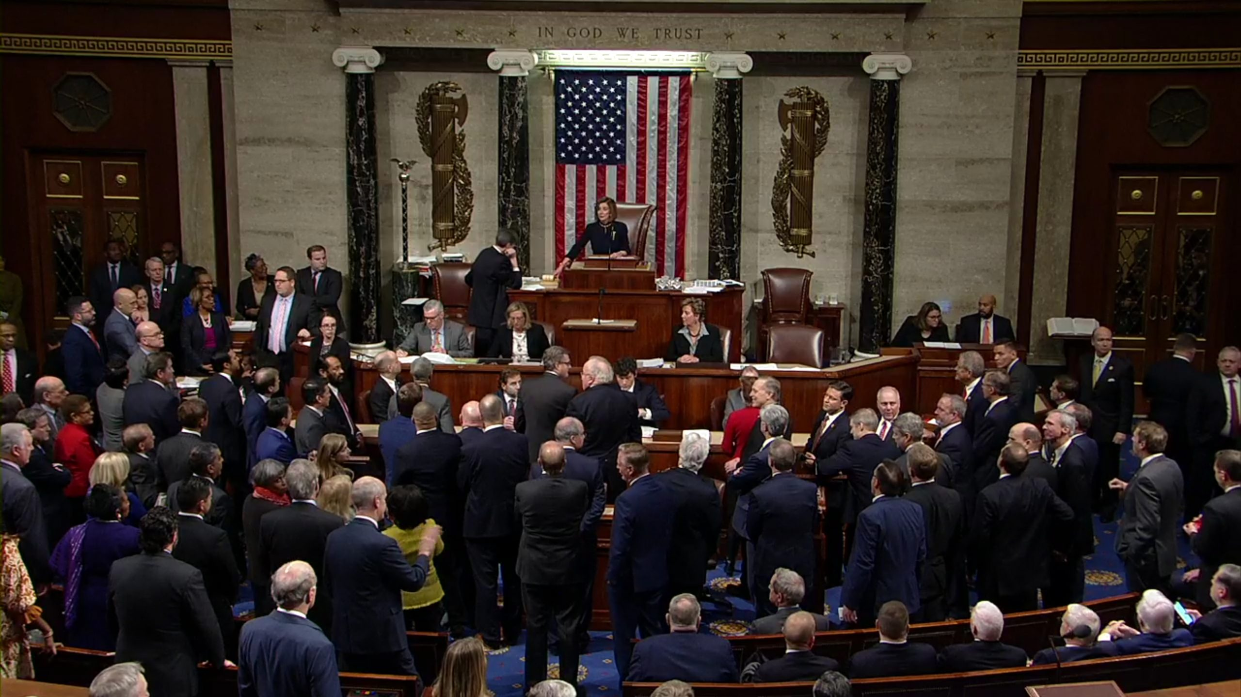 Members of House of Representatives vote on two articles of impeachment (Image WikiCommons, H. Res. 755)