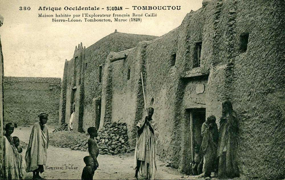 Postcard by Edmond Fortier showing the house where Caillié stayed in Timbuktu as it appeared in 1905–06
