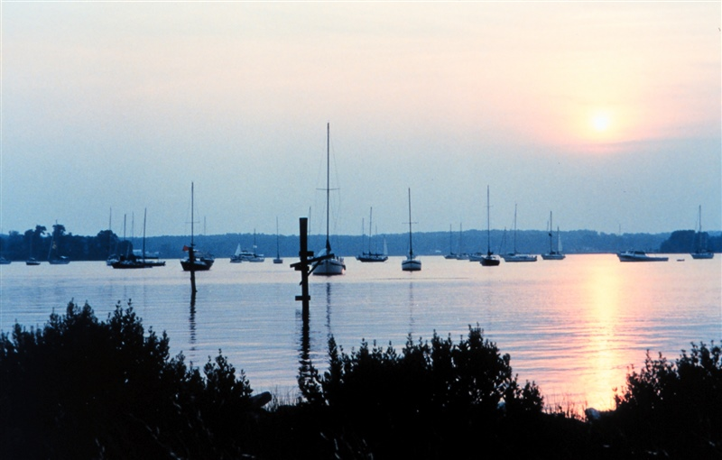 Sun setting over the St. Mary's River after the 1999 Governor's Cup sailboatrace (NOAA)