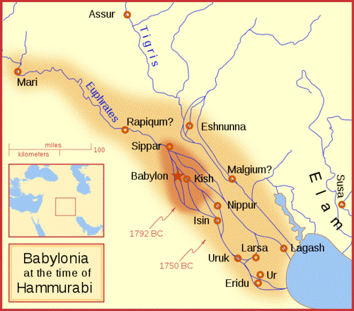 A map of ancient Mesopotamia at the rise of the Babylonian civilization.