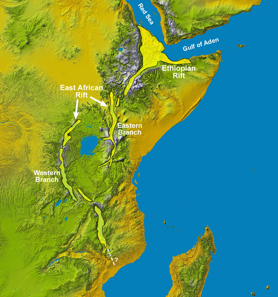 Figure 2: Rift segment names for the East African Rift System. Smaller segments are sometimes given their own names, and the names given to the main rift segments change depending on the source. The basemap is a Space Shuttle radar topography image by NASA.