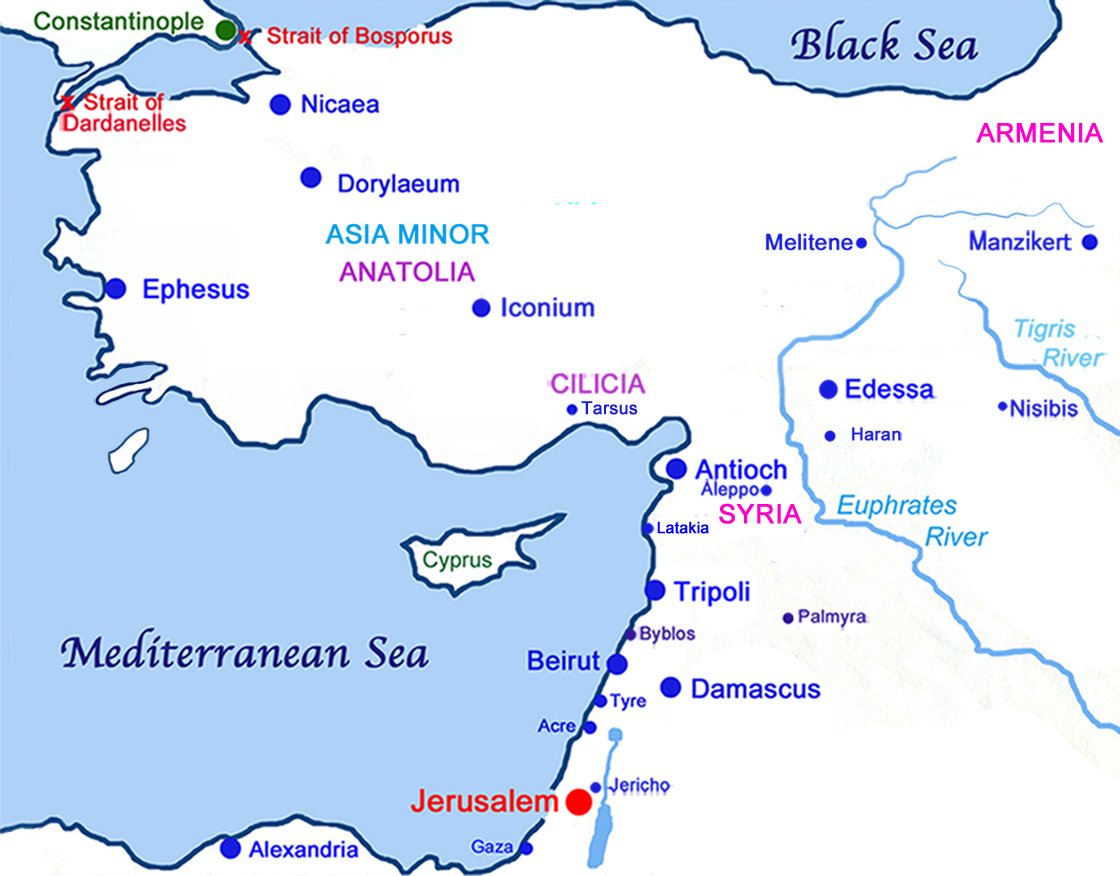 Map of Constantinople to the Holy Land