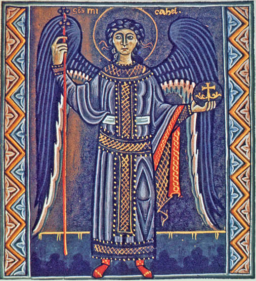 The Archangel Michael from the Psalter of Melisende, circa 1135, reprinted by permission of the British Library, Ms. Egerton 1139, Folio 205r, London