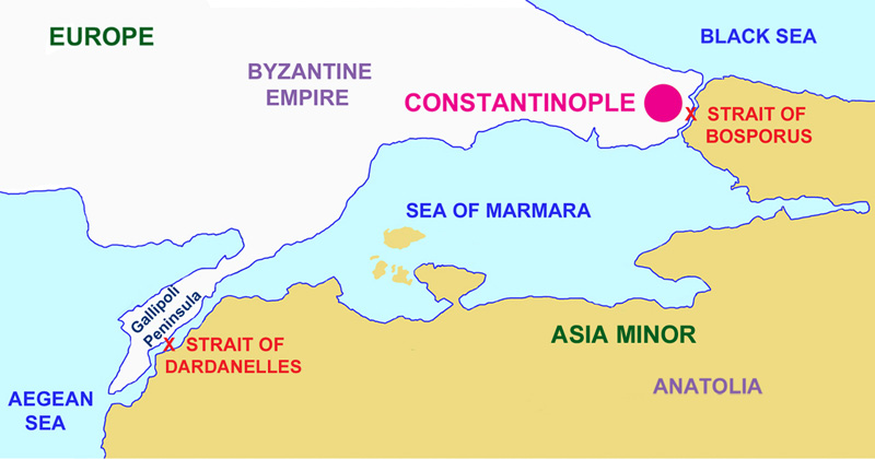 The Bosporus Strait and the Strait of Dardanelles divide Europe and Asia.
