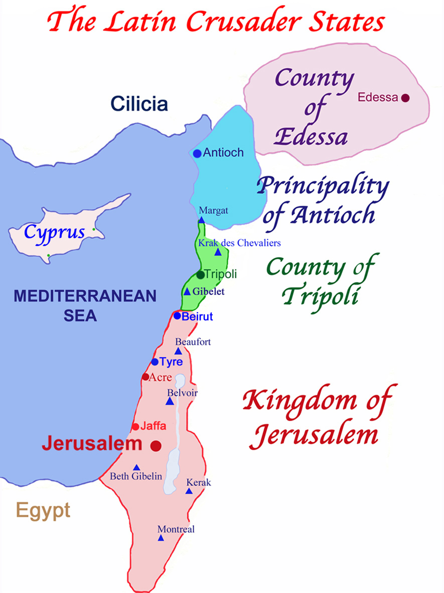 The Latin Crusader States in 1140, known as Outremer; note the triangles which designate eight major Crusader castles. Cyprus did not become a Crusader State until the Third Crusade in 1192