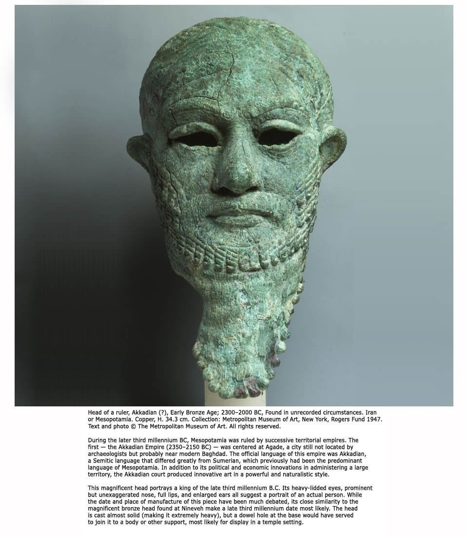 The head of an unrecorded Akkadian Ruler, Early Bronze Age, likely 2300–2200 BC.