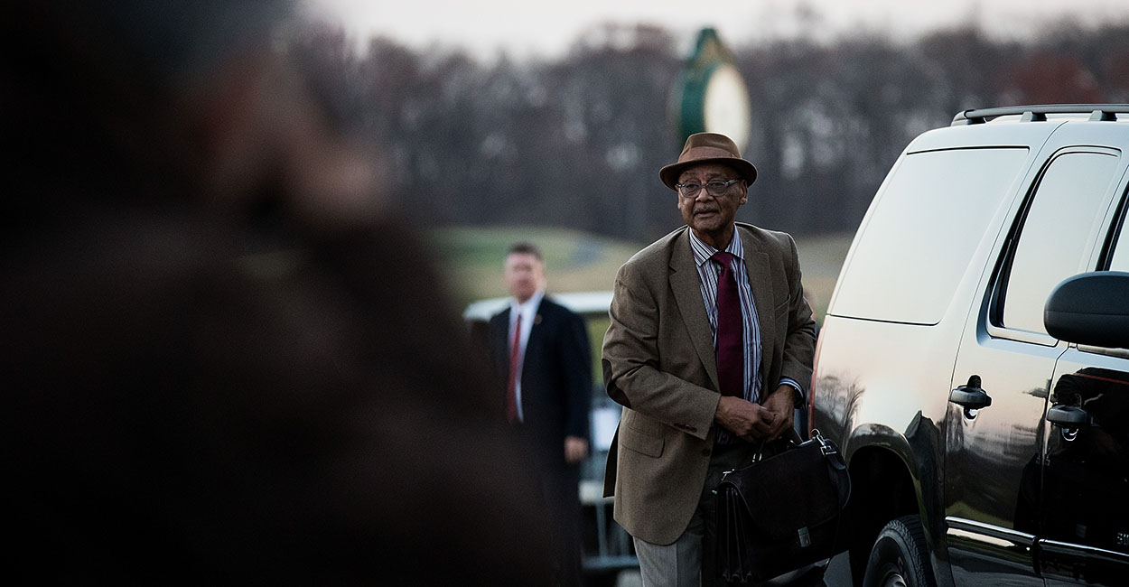 Robert Woodson Sr., president of the Washington-based Woodson Center, arrives Nov. 19, 2016, to meet with President-elect Donald Trump at Trump International Golf Club in Bedminster Township, New Jersey. (Photo: Drew Angerer/Getty Images)