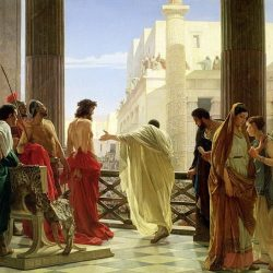 Antonio Ciseri's depiction of Ecce Homo with Jesus and Pontius Pilate, 19th century