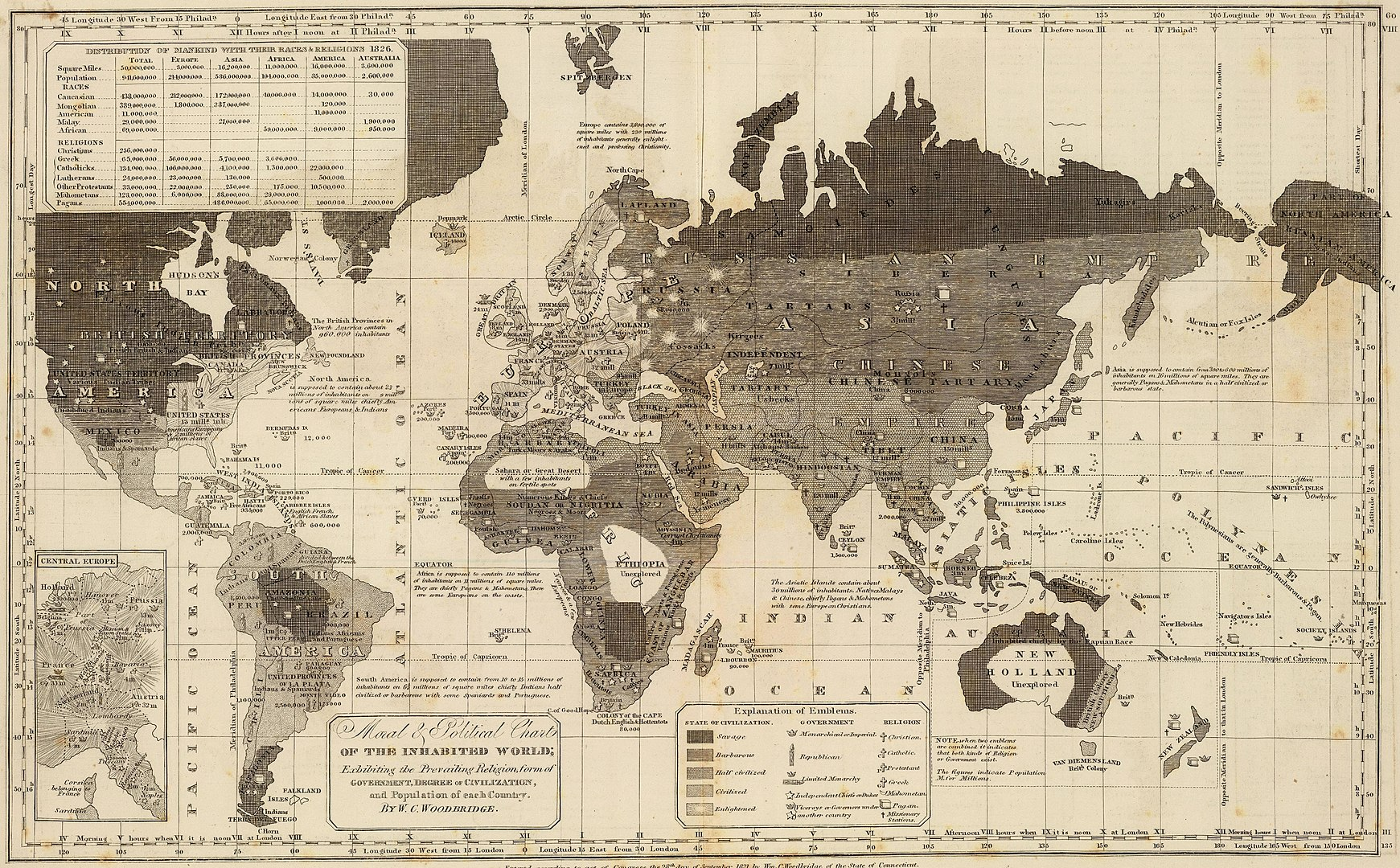 "An 1821 map of the world, where ""Christians, Mahometans, and Pagans"" correspond to levels of civilization. The map makes no distinction between Buddhism and Hinduism (WikiCommons).jpg"