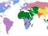 World map color-coded to denote religion affiliations of the majority population in each country (WikiCommons 2011).png