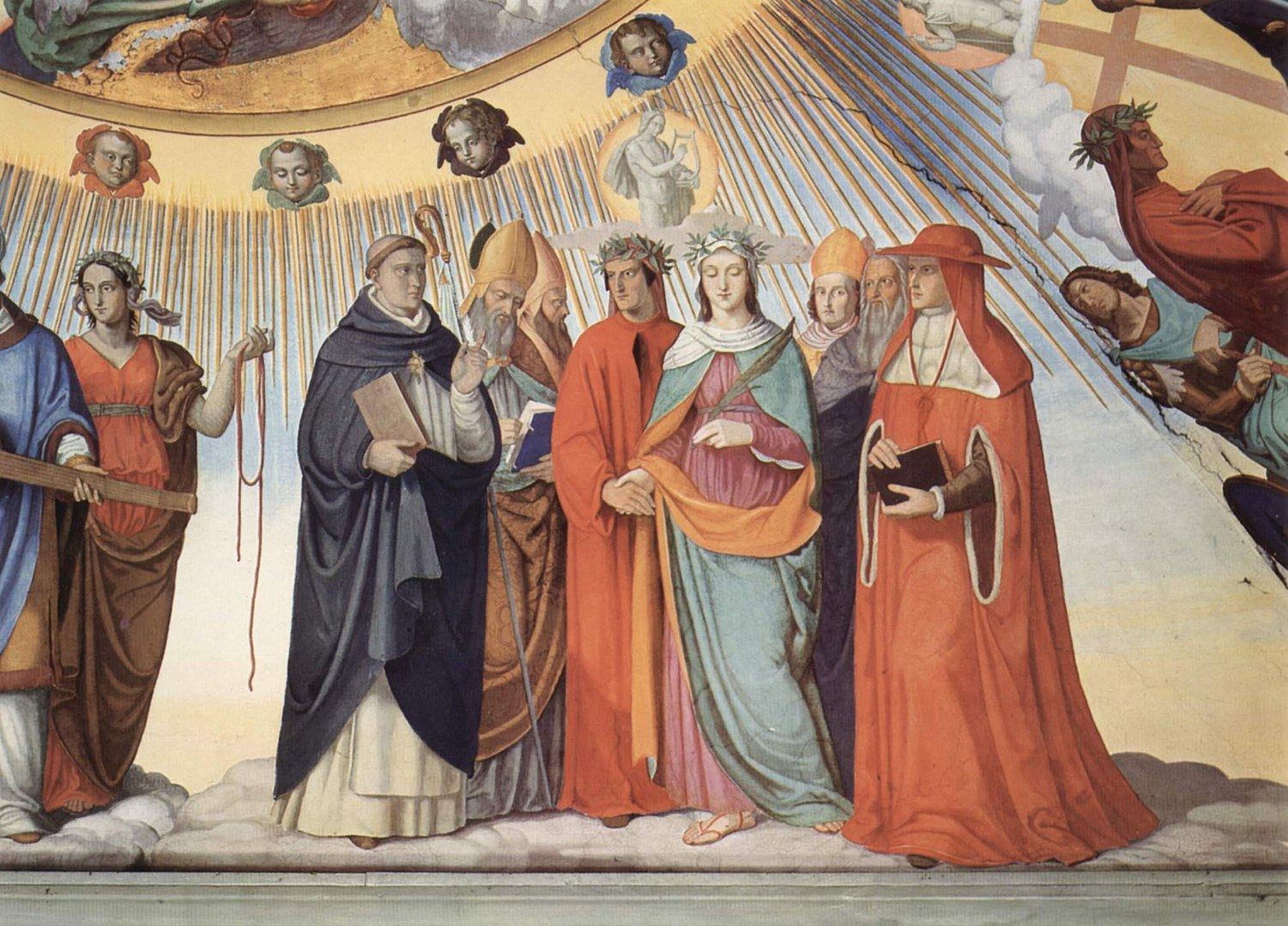 Dante and Beatrice speak to the teachers of wisdom Thomas Aquinas, Albertus Magnus, Peter Lombard and Sigier of Brabant in the Sphere of the Sun (fresco by Philipp Veit), Canto 10 (wikiCommons)