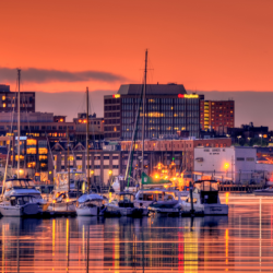 Portland Maine Waterfront at sunset