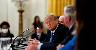 President Trump at a White House discussion of school reopenings this week. (Credit...Anna Moneymaker for The New York Times)