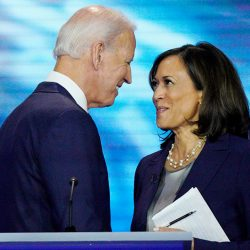 Democratic presidential candidates former Vice President Joe Biden, left, and Sen. Kamala Harris, D-Calif. shake hands Thursday, Sept. 12, 2019, after a Democratic presidential primary debate hosted by ABC at Texas Southern University in Houston. (AP Photo/David J. Phillip)