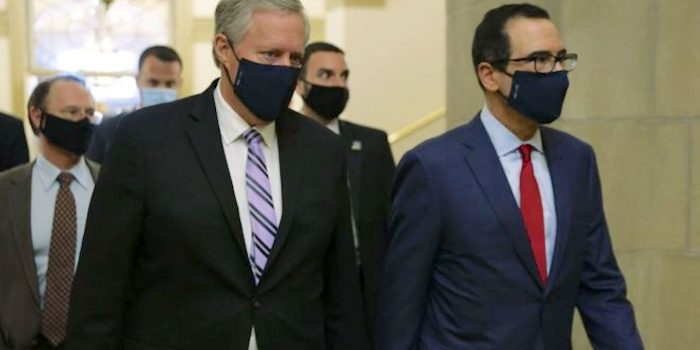 Mark Meadows (left) and Steven Mnuchin represent the White House in the talks. (Getty Images)