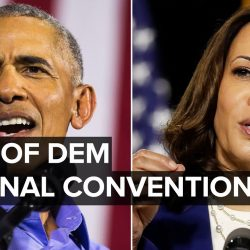 VP nominee Kamala Harris and Barack Obama speak at Democratic National Convention August 19, 2020