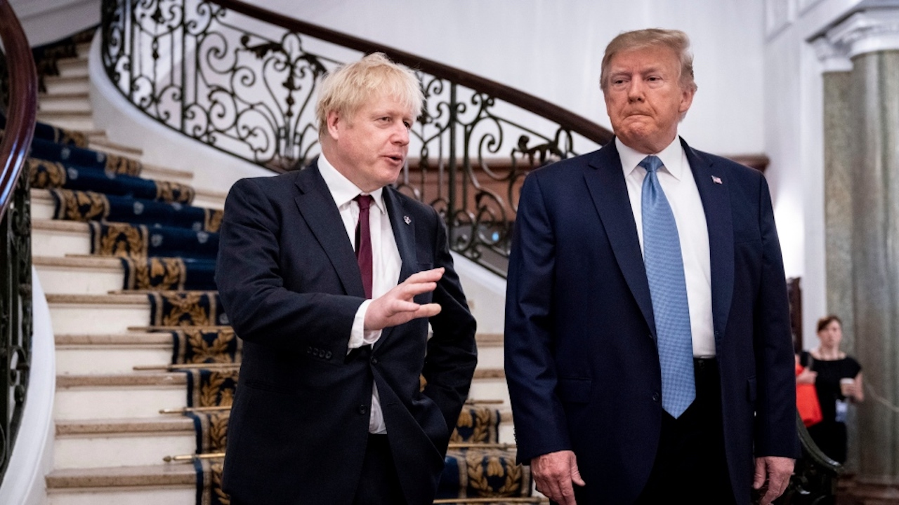 President Donald Trump and Britain's Prime Minister Boris Johnson, left, speak to the media before a working breakfast meeting at the Hotel du Palais on the sidelines of the G7 summit in Biarritz, France. (Photo taken Aug. 25, 2019 by Erin Schaff/The New York Times, Pool, File)